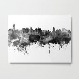 Jakarta skyline in black watercolor on white background Metal Print