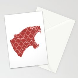 PANTHER SILHOUETTE HEAD WITH PATTERN Stationery Cards