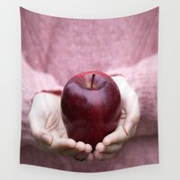 fruit Wall Tapestries featuring Forbidden Fruit by Maria Heyens