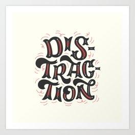 DISTRACTION // Dark Gray Art Print