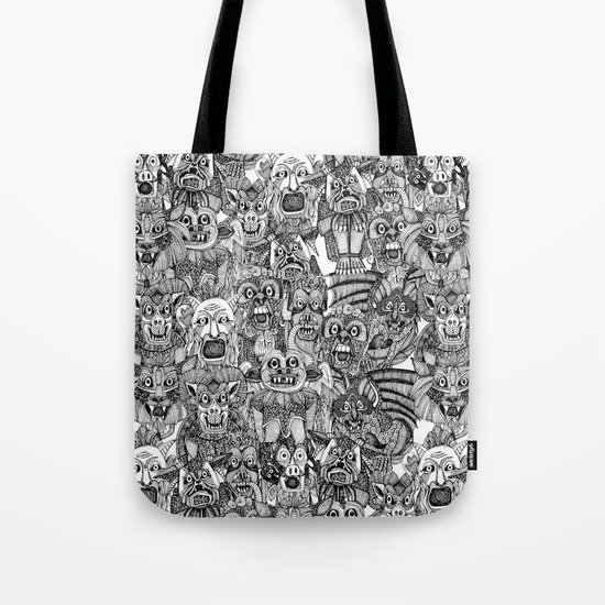 gargoyles black white Tote Bag