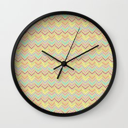 Modern geometrical pink yellow green chevron zigzag pattern Wall Clock