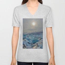 Blue Ice - Jökulsárlón Lagoon Unisex V-Neck