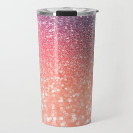 Rose Gold Peach Glitter Blush Travel Mug