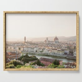 The Duomo in the City of Florence at Sunset | Tuscany Vacation | Italy Travel Photography Serving Tray