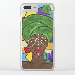 Stained Glass African woman Clear iPhone Case