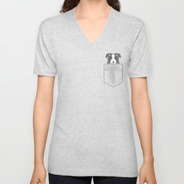 Border Collie In Pocket Unisex V-Neck