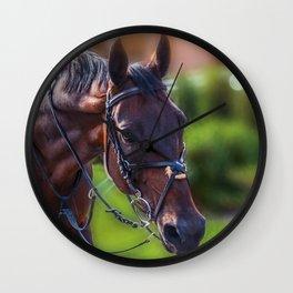 Horse Wall Art, Horse Portrait. Horse looking straight forward closeup. Wall Clock