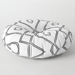 Modern Boho Ogee in Black and White Floor Pillow