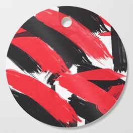 Modern Abstract Black Red Brush Strokes Pattern Cutting Board