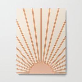 Sun Print Sunrise Sunshine Sun Wall Art Boho Sun Earth Tones Terracotta Mid Century Modern Decor  Metal Print