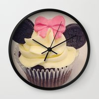 minnie mouse Wall Clocks featuring Minnie Mouse Cupcake by Loulabelle