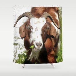 Portrait of a Horned Goat  Shower Curtain