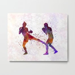 Woman boxer boxing man kickboxing silhouette isolated 02 Metal Print