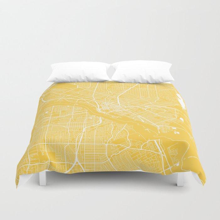 Dallas map yellow Duvet Cover