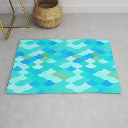 pattern scales, wave abstract simple Nature background mermaid Rug