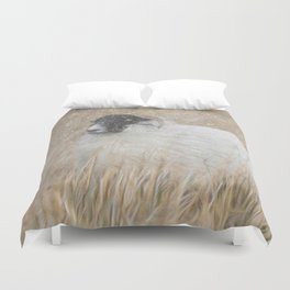 Moorland sheep in the snow Duvet Cover