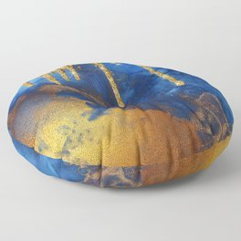 Gold Rain on Indigo Marble Floor Pillow