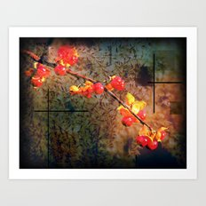 Fields Of Red Berries In The Evening Art Print