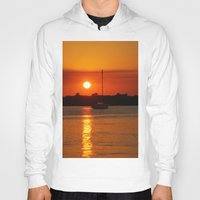 sailboat Hoodies featuring Sunset Sailboat by Yellow Tie