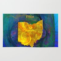 ohio state Area & Throw Rugs featuring Ohio Map by Roger Wedegis