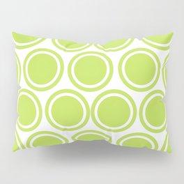 Green Circles on White Pillow Sham
