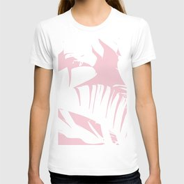 White on Pink Tropical Banana Leaves Pattern T-shirt