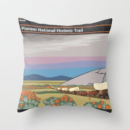 Vintage Poster - Mormon Pioneer National Historic Trail (2018) Throw Pillow