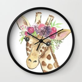 Flower Crown Giraffe Watercolor Wall Clock