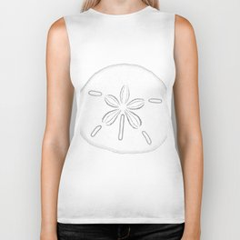 Sand Dollar Blessings - Black on White Pointilism Art Biker Tank
