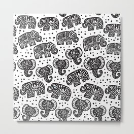 Beautiful pattern Indian Elephant with polka dot ornaments Metal Print