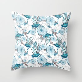 Underwater World with Jellyfishes dance Throw Pillow