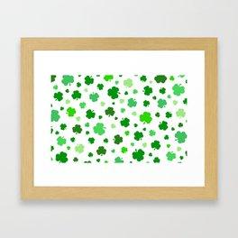 Green Shamrock Pattern Framed Art Print