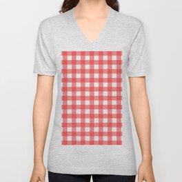 Plaid (Red & White Pattern) Unisex V-Neck