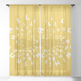 Hello Sunshine #minimal #typography #summervibes Sheer Curtain