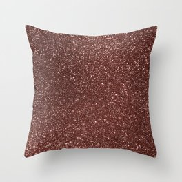 Ruby Pink Copper Glitter Throw Pillow