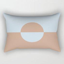 Sand Storm Beige Light Pastel Blue Circle Design 2 2021 Color of the Year Canyon Dusk Blue Me Away Rectangular Pillow