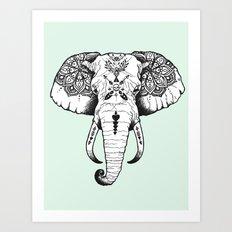 Elephant Tattooed Art Print