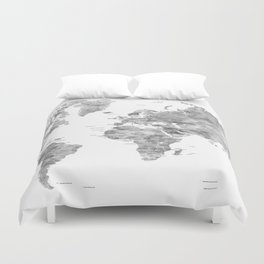 Gray watercolor world map with countries Duvet Cover