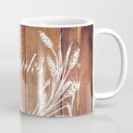 rustic western country barn wood farmhouse wheat wreath give thanks Coffee Mug