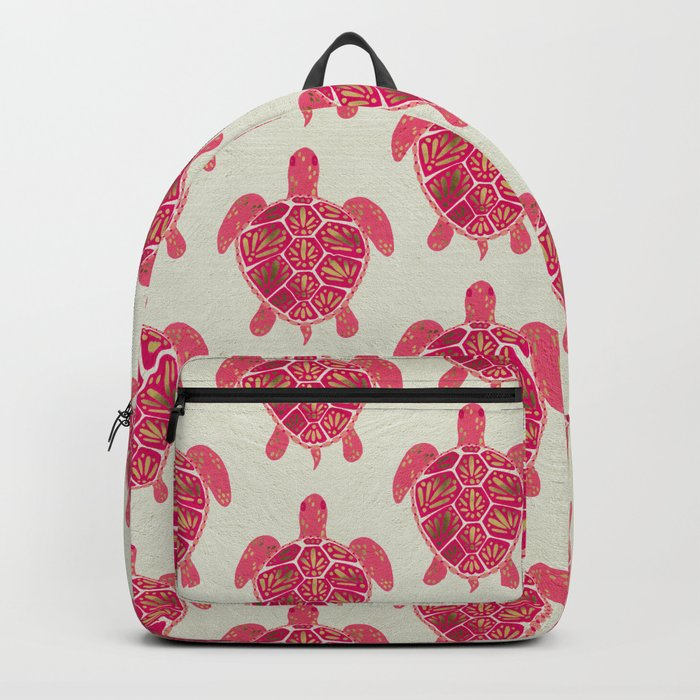 Sea Turtle in Pink & Gold Backpack