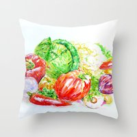 vegetables Throw Pillows featuring Vegetables by LiliyaChernaya
