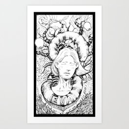Eva and the snake Art Print