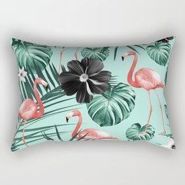 Tropical Flamingo Flower Jungle #3 #tropical #decor #art #society6 Rectangular Pillow