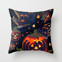 Spooky Night of Ghost and Jackolanterns by Lorloves Design Throw Pillow