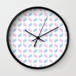 four lines 26 pink and blue Wall Clock