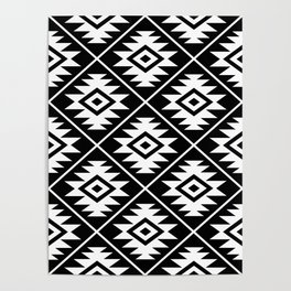 Aztec Symbol Pattern White on Black Poster
