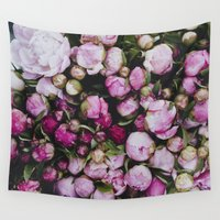 peonies Wall Tapestries featuring Peonies by Julia Dávila-Lampe