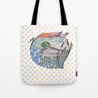 ducks Tote Bags featuring Ducks by Inez Gulyas