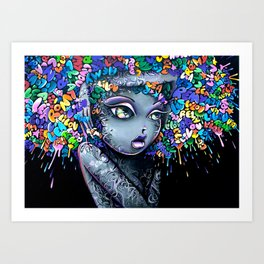 GRAFF--HAIR GIRL Art Print
